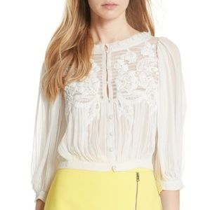 Alice and Olivia Lavone Embroidered blouse